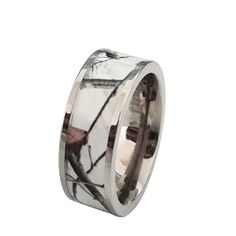 Elegant Unisex Titanium Snow Camo White Wedding Ring Band Camouflage Outdoor Perfect for the hunter outdoorsy type we all know
