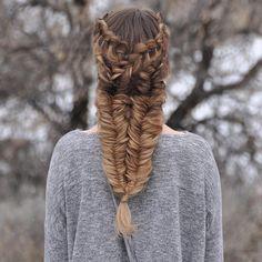 """Criss-Cross Lace Dutch Braids into Double Fishtails #luxyhair #dirtyblondeluxyhair"""