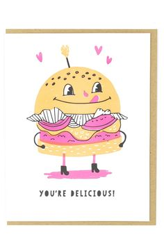 Hungry for You Card Hungry For You, Best Puns, Love Is Sweet, Paper Goods, Letterpress, Your Cards, Cool Designs, Greeting Cards, Sustainable Practices