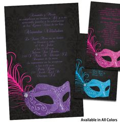 quinceanera ideas | Masquerade Quinceanera Invitations, Quince Anos