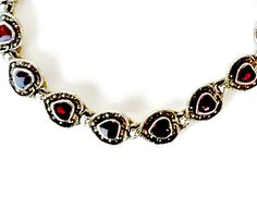 Red Hearts Bracelet with Marcasites by EclecticVintager on Etsy