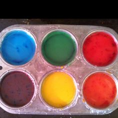 Homemade sidewalk paints! :-)   2 tablespoons cornstarch 6-8 drops food coloring 4 tablespoons water  Mix... Paint... Dry... Enjoy the art!!!