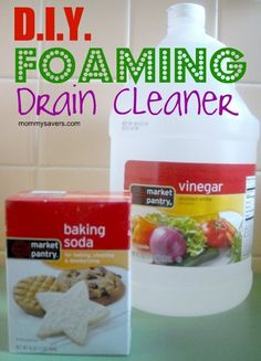 DIY-foaming-drain-cleaner  *First put 1/2 cup baking soda down drain. Then pour one cup of vinegar over. Stir and push, then cover w/ rag. Let sit for 30 mins. Flush with 1 qt boiling water.