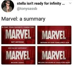 Marvel just wants to play with our emotions smh (As a courtesy to those who havent seen Infinity War, PLEASE do not comment spoilers) * *… Funny Marvel Memes, Marvel Jokes, Dc Memes, Avengers Memes, Avengers Imagines, Loki Funny, Funny Comics, Marvel Infinity, Avengers Infinity War