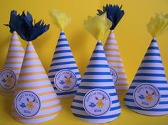 Blue/white and Yellow/white stripe Party Hats