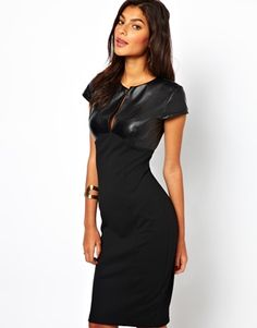 ASOS Sexy Pencil Dress With Leather Look Top