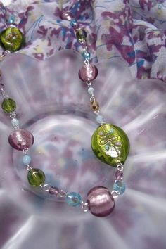 OOAK Purple Green and Blue Lampwork and Czech Glass by EgeriasWell, $55.00