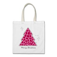 Pink giraffe Christmas Tree Canvas Bags