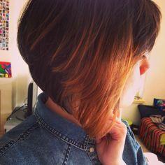Awesome haircolor #ombre #shorthair #bobline #dipdye Romantic Short Hair, B Line, Dip Dye, Beauty Stuff, Haircolor, Short Hair Styles, Awesome, Hair Color, Bob Styles