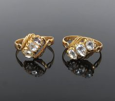 Pair of Antique 1.75ct Rose Cut Diamond & 14K Yellow Gold Rings