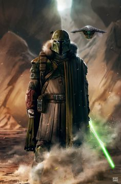 """quarkmaster: """" Jedi Fett & The Smoke Pits Always liked the idea of a former Jedi becoming a bounty hunter. So I created this concept to depict just that. Cheers. Dave Keenan """""""