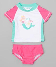 This White & Pink Mermaid Rashguard Set - Infant is perfect! #zulilyfinds