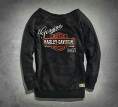 Harley-Davidson® Women's Genuine Activewear Pullover Bar and Shield® Black Motorcycle Style, Biker Style, Motorcycle Fashion, Biker Fashion, Motorcycle Gear, Women's Fashion, Harley Gear, Harley Shirts, Biker Wear