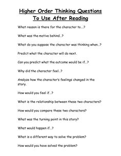 Higher Order Thinking Questions To Use After Reading. Reading Strategies, Reading Skills, Teaching Reading, Reading Comprehension, Comprehension Questions, Guided Reading, Teaching Ideas, Learning, Reading Response