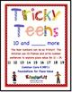 "Help your students gain foundations for place value with ""Tricky Teens""! This book is designed to provide practice with Common Core standard K.NBR.1, composing and decomposing numbers from 11 to 19 into ten ones and some further ones. For each number the children fill in 3 sets of ten-frames for a tricky teen and complete three different equations for the numbers. Perfect for math centers/stations or small group activities! Here's a great resource for giving the students practice with…"