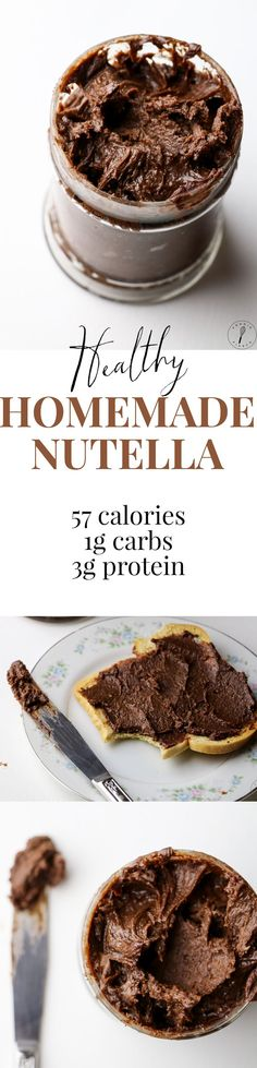 Homemade Nutella with HALF the calories! This stuff is so good I've just been eating it out of the jar with a spoon.