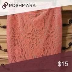 Pink lace pencil skirt Stunning lace pencil skirt with intricate details. Im 5'3 and it falls right above my knee. Worn a handful of times. In great condition. Adorable with nude heels or wedges, a white fitted t-shirt and a statement necklace. Fits a size 8-10. Skirts Pencil