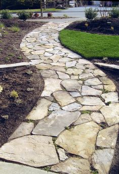 front walk landscape idea | ... Flagstone Walkways to Make Natural Addition for Landscape Design