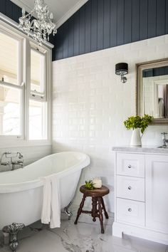Farmhouse Bathroom with Freestanding Tub