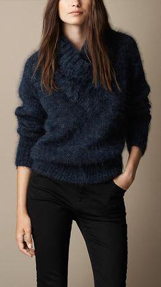 Pullover aus einer gekämmten Mohairmischung mit Schalkragen | Burberry