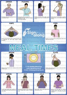 Signalong Signs for sitting down to eat: dinner pudding eat drink knife fork spoon plate apron hot cold more. Sign Language Chart, Sign Language Words, Sign Language Alphabet, Alphabet Sounds, Learn Sign Language, British Sign Language, Sms Language, Makaton Signs, Phonics Flashcards