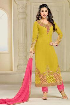Karishma Kapoor Yellow Color Georgette Designer Function Wear Salwar Suit