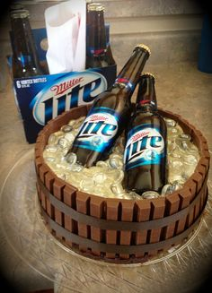 A cake I made for my Miller Lite drinking friend. I think she liked the Kit Kat touch.