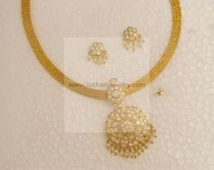 Gold Necklace - 22K EMERALD GOLD NECKLACE AND EARRING SET, Bridal Emerald Necklace Set, 22K GOLD EMERALD NECKLACE SET