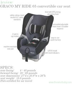 Graco My Ride 65 review - a super safe and budget friendly convertible car seat option!