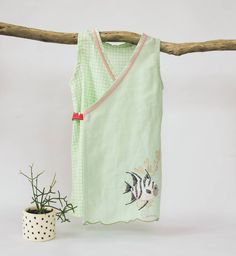 """""""Little fish vintage tray cloth  made up into a wrap-around frock, size 3. In…"""""""