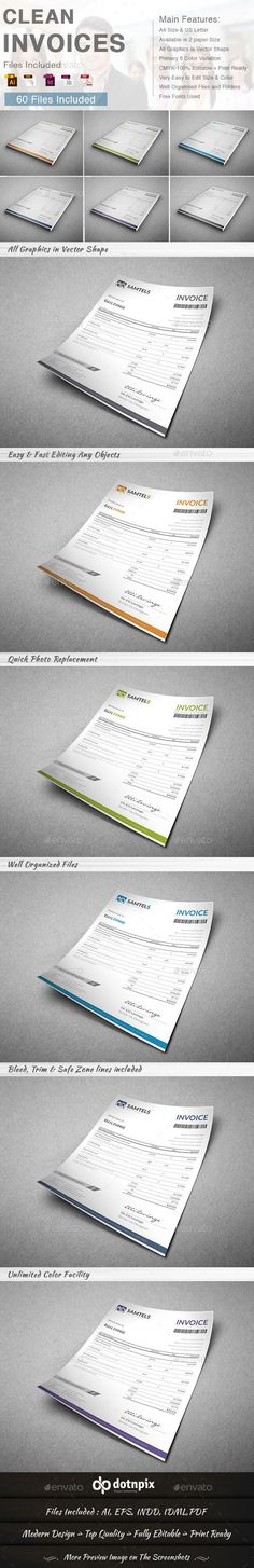 Clean Invoices Template | #invoice #invoicetemplate #invoicedesign | Download: http://graphicriver.net/item/clean-invoices-6-in-1/9310227?ref=ksioks