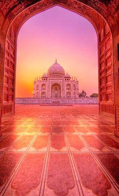 Eternal Glow (Panoramic Reprise) Taj Mahal at sunrise Agra India. Taj Mahal, Indian Architecture, Beautiful Architecture, Wonderful Places, Beautiful Places, Places To Travel, Places To Visit, Amazing India, Beautiful Mosques