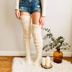 Beige Over Knee Socks, Thigh High Socks, Thigh Highs, Fluffy Socks, Cozy Socks, Thick Socks, Knit Stockings, Sexy Stockings, Rose Beige
