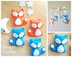 Baby mobile  Fox Mobile  forest Mobile  woodland by LoveFeltXoXo