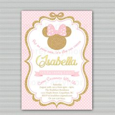 Pink and Gold Minnie Mouse Birthday Party Invitation, First, 1st Birthday, 2nd Birthday Gold Glitter, Polka Dot, Girl, Printable Invitation