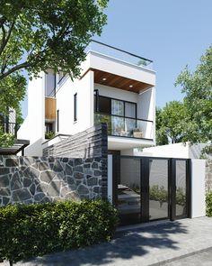 Minimal House Design, Modern Small House Design, Modern Exterior House Designs, House Front Design, Exterior Design, Home Building Design, Building A House, Model House Plan, Facade House