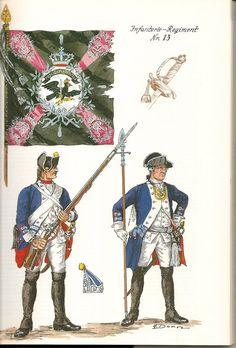 Prussia; Infantry Regiment Nr.13, c.1750 by G.Donn