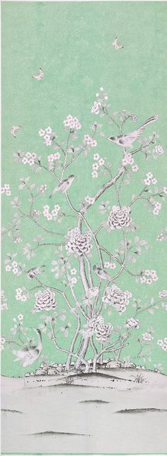 Mary Mcdonald Chinoiserie Panel - Light Aqua Blue  [PAN-1932] Chinoiserie Panel | DesignerWallcoverings.com | Luxury Wallpaper | @DW_LosAngeles | #Custom #Wallpaper #Wallcovering #Interiors