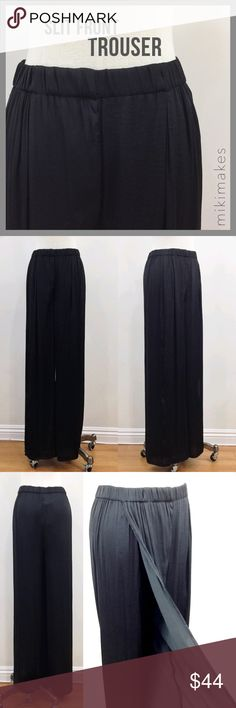 """BERSHKA • NWT black satin slit front palazzo pants Brand new palazzo pant with slit front from Bershka (sister brand to ZARA).  Has elastic waist so you can eat as much as you would like.  Pant leg overlaps at the thigh and opens into a slit at the bottom.  Looks like a maxi skirt when standing and catches the wind beautifully when walking.  Medium rise and 43.5"""" long.  100% polyester.  Machine wash gentle cycle. Bershka Pants Wide Leg"""