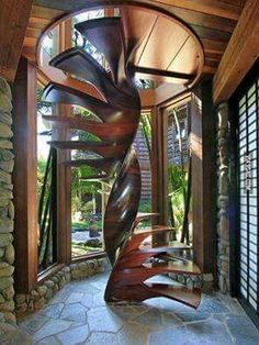 stunning north shore estate, 473 laulea place, paia, hawaii- I would so fall down these stairs! Beautiful Architecture, Architecture Details, Interior Architecture, Interior And Exterior, Interior Design, Grand Staircase, Staircase Design, Wood Staircase, Winding Staircase