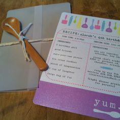 Kids Cooking Party Birthday Invitation by Celebrations in Paper - love the idea of a recipe card for the invite!