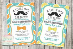 Coupon Code - REPIN10 for 10% off Mustache Bow Tie Little Man Baby Boy Shower Printable Invitation Orange or Yellow with Blue Turquoise Chevron Custom PDF JPG 4x6 5x7 $10.99