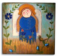 Franciszka w szczerym polu Anioł malowany na drewnie