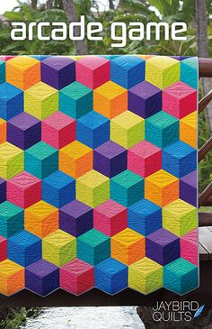 Jaybird Quilts Arcade Game Quilt, made with the Sidekick ruler. Available in local & online quilt shops. Jaybird Quilts, 3d Quilts, Quilt Baby, Twin Quilt, Tumbling Blocks Quilt, Quilt Blocks, Quilt Patterns Free, Sewing Patterns, Block Patterns