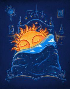 Goodnight, Sun - By Evan Ferstenfeld & Enkel Dika Good Night Moon, Stars At Night, Good Night Sleep, Sun Moon Stars, My Sun And Stars, Illustrations, Illustration Art, Art Soleil, Sleeping Sun