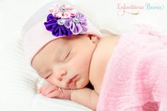 Hey, I found this really awesome Etsy listing at https://www.etsy.com/listing/179957335/newborn-baby-hat-white-with-lavender-bow