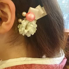 手作りの髪飾り可愛いピンクが春にぴったり(о´∀`о) #東亜和裁 #toawasai #髪飾り #ハンドメイド #handmade #東亜和裁2015きもの祭り