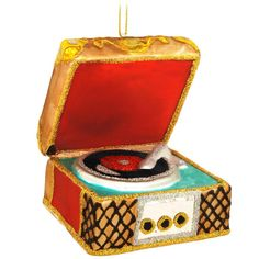 Old Fashioned Record Player Glass Ornament $12.99