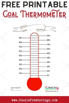 FREE Printable Goal Thermometer can be used as a debt payoff thermometer or a savings thermometer. It is a great way to keep track of your progress toward reaching your goals! Savings Challenge, Money Saving Challenge, Saving Money, Goals Printable, Free Printables, Savings Chart, Rewards Chart, Goal Thermometer, Goals Sheet