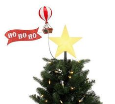 Santa's Hot Air Balloon Holiday Decoration | Cool Animated Tree Topper Aviation Decor, Airplane Decor, Holiday Tree, Christmas Tree, Christmas Ornaments, Holiday Decor, Balloon Tree, Hot Air Balloon, Cool Animations